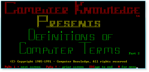 More Computer Terms 001 Title Page