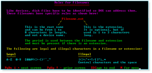 DOS 009 Rules for Filenames