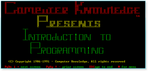 Programming 001 Title Screen