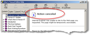 CHM File Action Canceled