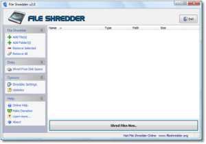File Shredder 01 Program Screen