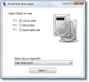 File Shredder 05 Shred Free Disk Space